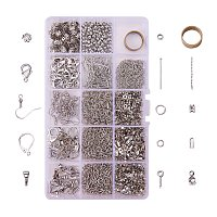 PandaHall Elite About 1642 Pcs Jewelry Making Findings Kits with Cord Ends Lobster Claw Clasps Jump Rings Headpins Earring Bead Caps Pinch Bails Twist Chain Links 174x100x21.5mm Platinum