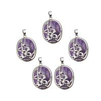 ARRICRAFT 1pc Natural Amethyst Pendants with Brass Findings Oval with Snake for DIY Jewelry Making, Hole: 4.5x7.5mm