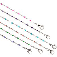 Arricraft 6pcs 6 Colors Stainless Steel Cable Chain Necklace with Clasps Metal Link Chain with Enamel Charms for Necklace Jewelry Making