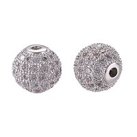 NBEADS 10PCS 10mm Brass Cubic Zirconia Beads Real Platinum Micro Pave Setting Disco Ball Spacer Beads Round Bracelet Connector Charms Beads