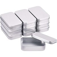 BENECREAT 10 Pack 3.8x2.5 Rectangle Metal Tin Cans Platinum Tin-Plated Box with Lids for Gifts Party Favors and Other Accessories