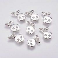 Brass Micro Pave Cubic Zirconia Charms, Skull, Real Platinum Plated, 13x12x1.5mm, Hole: 1mm