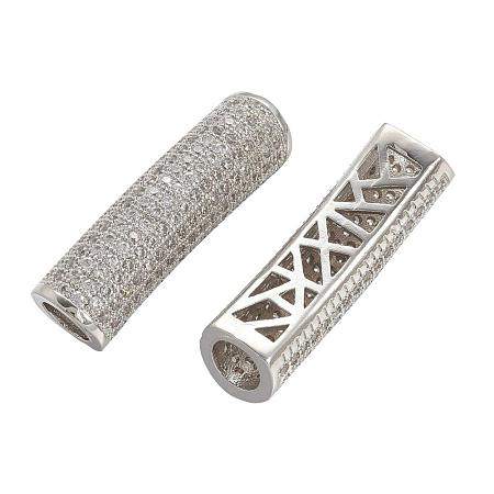 ARRICRAFT 5 pcs Tube Shape Brass Cubic Zirconia Spacer Beads with 4.2 Hole for Jewelry Making, Platinum
