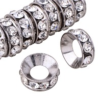 PandaHall Elite Grade A Brass Rhinestone Rondelle Spacer Beads Platinum 10x4mm for Jewelry Making 10pcs/bag