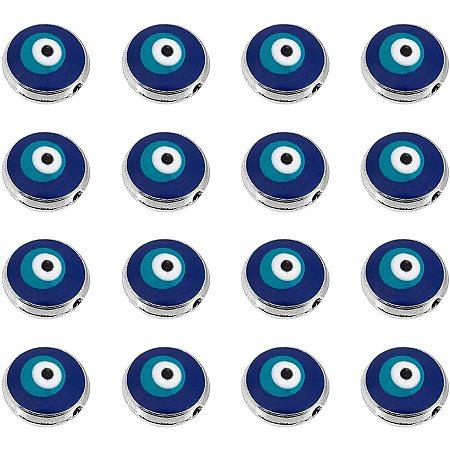 NBEADS 50 Pcs Evil Eye Beads, 10mm Flat Round Blue Eye Beads Handmade Enamel Beads for Bracelets Necklace Jewelry Making, Hole: 1.2mm