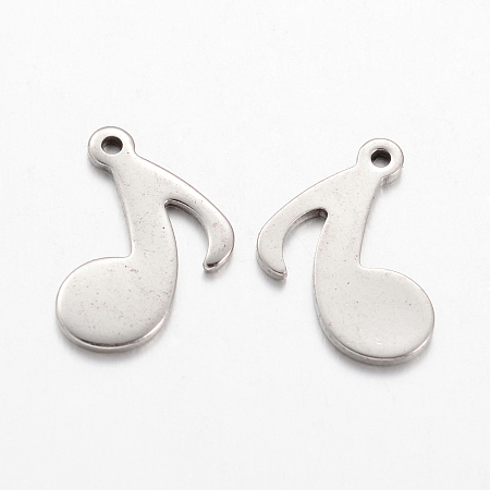 304 Stainless Steel Charms, Musical Note, Stainless Steel Color, 15.5x12x1mm, Hole: 1mm
