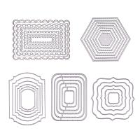 BENECREAT 5 Sets Cutting Dies Cut Metal Scrapbooking Stencils Nesting Die for DIY Embossing Photo Album Decorative DIY Paper Cards Making - Square, Rectangle, Hexagon