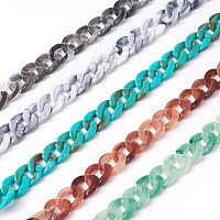 ARRICRAFT Acrylic Curb Chains, Mixed Color, Link: 13x10~10.5x2.5~3mm, about 70cm/strand, 27.56 inches
