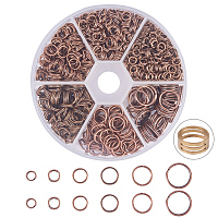 PandaHall Elite About 920 Pcs Iron Split Rings Double Loop Jump Ring Diameter 4-10mm for Jewelry Making Red Copper