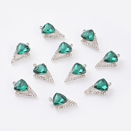 Alloy Cabochons, Nail Art Decoration Accessories, with K9 Glass Rhinestones, Platinum, Triangle, Emerald, 14x9mm