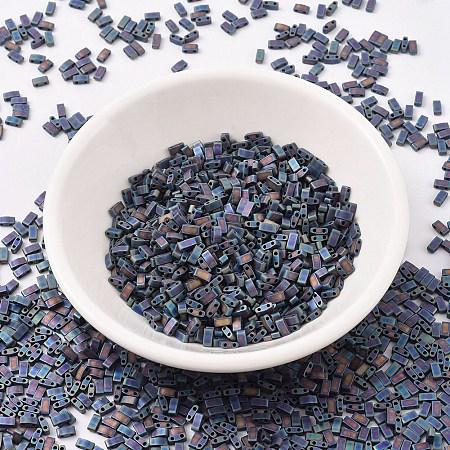 MIYUKI Half TILA Beads, Japanese Seed Beads, 2 Hole, (HTL401FR) Matte Black AB, 5x2.3x1.9mm, Hole: 0.8mm; about 250pcs/10g