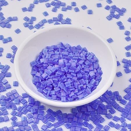 MIYUKI TILA Beads, Japanese Seed Beads, 2-Hole, (TL150FR) Matte Transparent Sapphire Blue AB, 5x5x1.9mm, Hole: 0.8mm; about 118pcs/10g