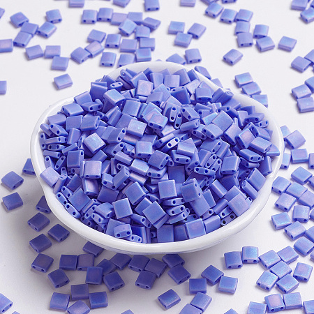 MIYUKI TILA Beads, Japanese Seed Beads, 2-Hole, (TL417L/FR) Matte Opaque Periwinkle AB, 5x5x1.9mm, Hole: 0.8mm; about 118pcs/10g