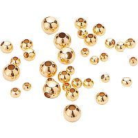 BENECREAT 200Pcs 18K Gold Plated Brass Beads Round Spacer Beads with 4 Mixed Size(0.5-1.5mm Hole) for Necklaces, Bracelets and Jewelry Making