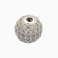 NBEADS 1PCS 6mm Brass Clear Gemstones Cubic Zirconia Bead Platinum Color Micro Pave Setting Disco Ball Spacer Bead Round Bracelet Connector Charm Bead for Jewelry Making