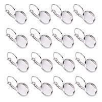 NBEADS 200 Pcs Silver Brass Lever Back Hoop Earrings Components Flat Round Tray Open Loop Leverback Earring Hoop Earring Making