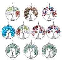 NBEADS 10 PCS Random Mixed Color Gemstone Big Pendants, Flat Round Tree of Life Gemstone Crystal Pendant for Necklace Jewelry Making