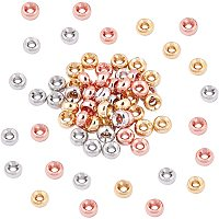 NBEADS 60 Pcs Brass Beads 3 Colors 2mm Hole Rondelle Spacer Brass Beads Metal Big Hole Beads for DIY Jewelry Making