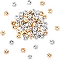 NBEADS 60 Pcs Brass Beads 2 Colors 2mm Hole Rondelle Spacer Brass Beads Metal Big Hole Beads for DIY Jewelry Making
