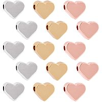 NBEADS 30 Pcs Heart Shape Spacer Beads, 3 Colors Brass Loose Beads Small Hole Charm Beads for DIY Jewelry Necklace Earring Bracelet Making