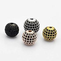 ARRICRAFT About 10pcs Brass Micro Pave Grade AAA Black Color Cubic Zirconia Round Beads for Bracelet Necklace Earrings Jewelry Making Crafts, Cadmium Free & Nickel Free & Lead Free
