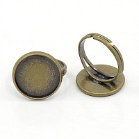 PandaHall Elite 10Pcs Antique Bronze Brass Adjustable Finger Ring Findings Pad Ring Bases Perfect for Cabochons