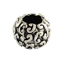 NBEADS 20 pcs Antique Silver Rondelle Tibetan Style Alloy European Large Hole Beads Lead Free & Nickel Free 7.5x10mm, Hole: 4.5mm