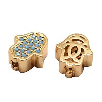NBEADS 5PCS Environmental Brass Micro Pave Cubic Zirconia Beads Gold Beads SkyBlue Gemstones Cubic Zirconia Hamsa Hand Spacer Connector Charms Bracelet Necklace Beads, 9.5x8x4mm, Hole: 1mm