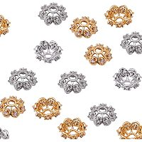 NBEADS 16 Pcs Cubic Zirconia Flower Bead Caps Brass Spacer Beads Metal Beads Caps for Bracelet Necklace Jewelry Making