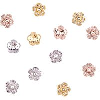 NBEADS 12 Pcs Cubic Zirconia Flower Bead Caps, 3 Colors Brass Zirconia Bead Cap Metal Beads Caps for Bracelet Necklace Jewelry Making