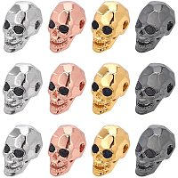 NBEADS 12 Pcs 4 Colors Skull Beads Cubic Zirconia Skull Spacer Beads Micro Pave CZ Crystal Skull Skeleton Beads for Bracelet Necklace Jewelry Making,13x8x9.5mm