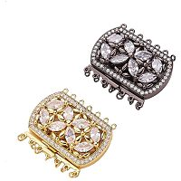Arricraft 2 Sets Brass Cubic Zirconia Box Clasps Mixed Color Multi-Strand Box Clasps Rectangle Push Pull Box Clasps for Necklace Bracelet Jewelry Findings 34x43x9mm 1.5mm 2.5mm Hole