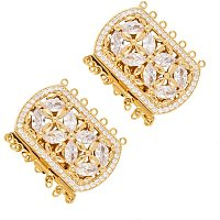 PandaHall Elite 2 Sets 43mm Brass Cubic Zirconia Box Clasps Golden Multi-Strand Box Clasps Rectangle Push Pull Box Clasps for Necklace Bracelet Jewelry Findings 1.5x2.5mm Hole