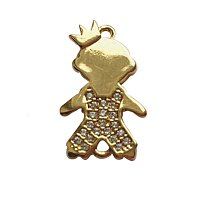 NBEADS 10pcs Real Gold Plated Grade AAA Cubic Micro Pave Zirconia Boy with Crown Links, Brass Bracelet Necklace Charm Crown Connector Pendant for DIY Jewelry Making Crafts