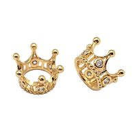 NBEADS 30pcs Cubic Zirconia Micro Pave King Queen Crown Beads Bracelet Connector Spacer Charm Beads, Brass Large Hole Loose Beads for Bracelet Necklace DIY Jewelry Making Crafts Design