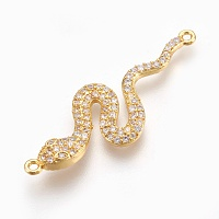 Arricraft Brass Micro Pave Cubic Zirconia Links, Long-Lasting Plated, Snake, Lead Free & Nickel Free & Cadmium Free, Clear, Real 18K Gold Plated, 39x13.5x3mm, Hole: 1.2mm
