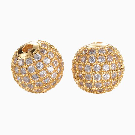 NBEADS 1PCS 10mm Brass Clear Gemstones Cubic Zirconia Bead Gold Color Micro Pave Setting Disco Ball Spacer Bead Round Bracelet Connector Charm Bead for Jewelry Making