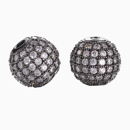 NBEADS 10PCS 10mm Gunmetal CZ Brass Micro Pave Beads Clear Gemstones Cubic Zirconia Round Beads Bracelet Connector Charms Beads for Jewelry Making