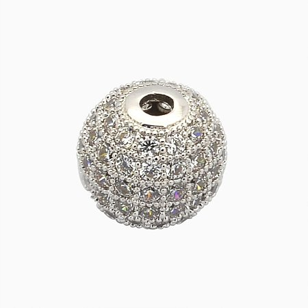 NBEADS 10PCS 8mm Platinum CZ Brass Micro Pave Beads Clear Gemstones Cubic Zirconia Round Beads Bracelet Connector Charms Beads for Jewelry Making