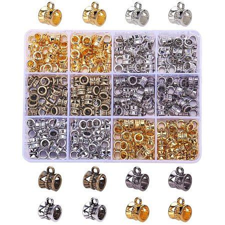 PandaHall Elite 300Pcs 6 Colors Connectors Bails Beads for Jewelry Making Tube Spacer Bead Hanger Fit European Charms Bracelet Pendants
