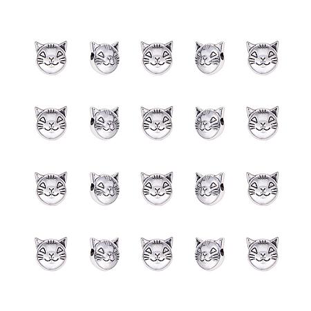 Tibetan Style Alloy Beads, Cat Head, Antique Silver, 8x8x5mm, Hole: 2mm; 100pcs/box