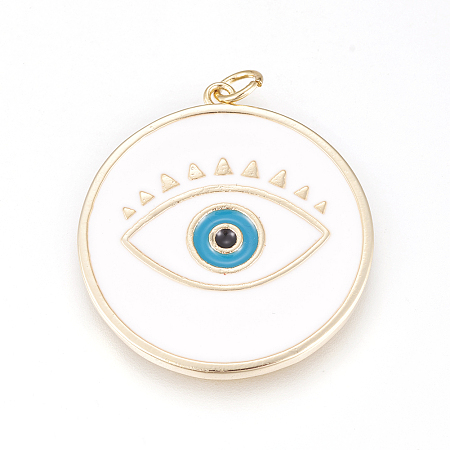 NBEADS 10 Pcs 28.5mmx31mm Evil Eye Theme Environmental Brass Enamel Pendants, Flat Round Real 18K Gold Plated Enamel Evil Eye Pendants with Large Hole(3.5mm) Findings for DIY Jewelry Making, White