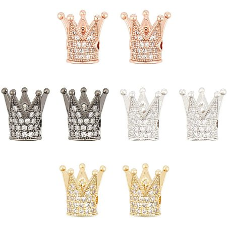 NBEADS 8 Pcs King Crown Beads Brass Micro Pave Cubic Zirconia Crown Beads Mixed Color Crown Charms for Bracelet Necklace Earrings Jewelry Making