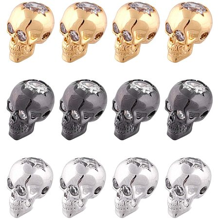 NBEADS 12 Pcs 3 Colors Skull Beads Cubic Zirconia Skull Spacer Beads Micro Pave CZ Crystal Skull Skeleton Beads for Bracelet Necklace Jewelry Making,12.5x9x10mm
