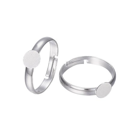 NBEADS 100Pcs Brass Pad Ring Bases, Lead Free and Cadmium Free, Adjustable, Silver Metal Color, Size: Ring: about 17mm in inner diameter, Tray: about 6mm in diameter