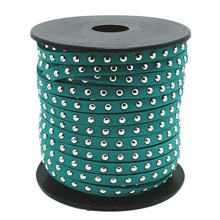 NBEADS 20 Yards/Roll Teal Color 4.5mm Studded Fiber Flat Faux Suede Leather Cords Strip Cord Lace Beading Thread Braiding String for Jewelry Making