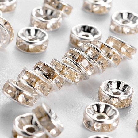 Iron Rhinestone Spacer Beads, for Jewelry Craft Making Findings, Grade B, Rondelle, Straight Edge, Clear, Silver Color Plated, 7~8x3.5mm, Hole: 2mm