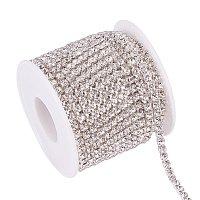 BENECREAT 10 Yard 3.5mm Crystal Rhinestone Close Chain Clear Trimming Claw Chain Sewing Craft About 2100pcs Rhinestones - Crystal (Silver Bottom)