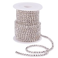 BENECREAT 10 Yard 4mm Crystal Rhinestone Close Chain Clear Trimming Claw Chain Sewing Craft About 1965pcs Rhinestones - Crystal (Silver Bottom)