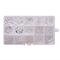 PandaHall Elite Silver Jewelry Finding Kits with Fold Over Ends Knot Covers Ball Chain Extensions End Pieces Earring Hooks Head Pins Lots in In A Box, about 870pcs/box